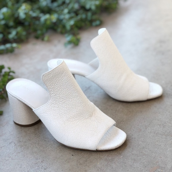 White Patent Pebble Leather Mules